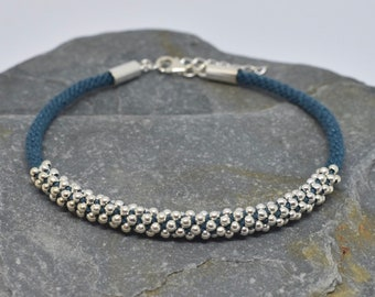 Sterling Silver (925) Bead Kumihimo Bracelet - blue
