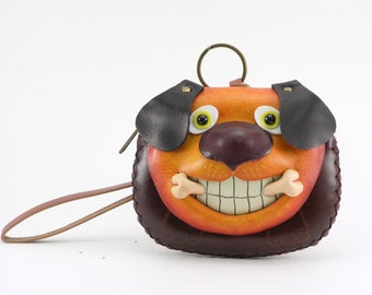 handmade leather dog with bone wristlet coin purse wallet