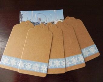 5 labels kraft 9 x 4.5 cm with decorative kraft tape snowflakes