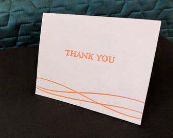 Orange Letterpress Thank You Cards Set of 4