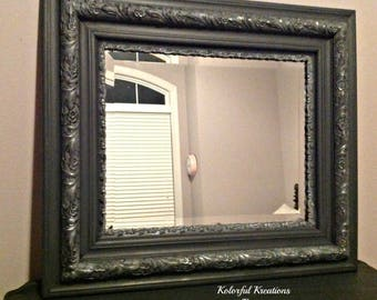 Dark Gray/Silver Vintage Mirror Painted