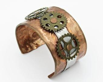 Steampunk Cuff, Steampunk Bracelet, Steampunk Jewelry, Clockwork Jewelry, Copper Cuff, Copper Bracelet, Cuff Bracelet