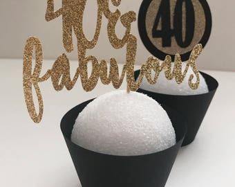 40 and Fabulous Cupcake Toppers, Black and Gold Cupcake Toppers (12-pack)