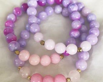 Fantasy Stack. Pink Purple Gold Gemstone Bracelet Set