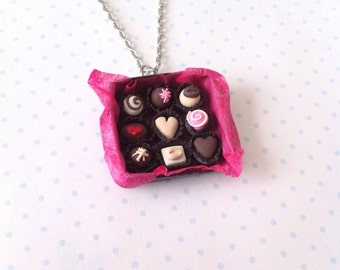 Box of Chocolates necklace, polymerclay