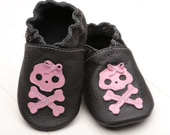 Leather baby shoes Soft sole baby shoes Girls' Shoes Skull baby shoes Boys' Shoes Skull baby shower Halloween Gift Black, Pink Skull, Evtodi
