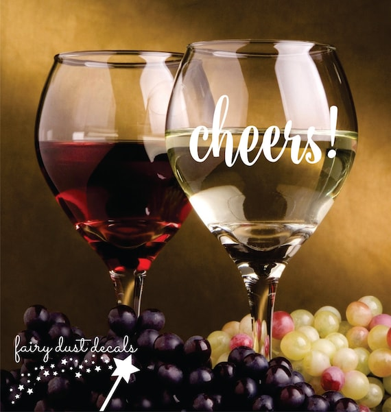 Cheers Decal Wine Glass Decal Wedding Stickers Mason Jar - Vinyl stickers for glass jars
