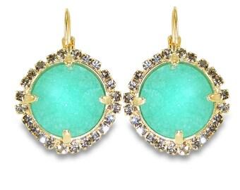 Mint Druzy Drop Earrings, Pave Lever Back Dangle Earrings, Statement Earrings Gemstones Gold Earrings, Druzy & Crystals Bezel Sets Earrings.