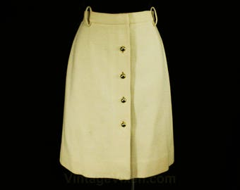 Size 6 Ivory Skirt - British Mod 1960s Cream Wool Knit Mini Skirt - Posh 60s Go Go Girl - England Jaeger Label - Waist 25.5 - 48644