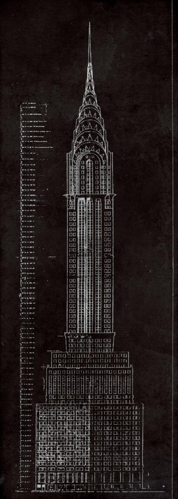 Chrysler building blueprint vintage new york city manhattans like this item malvernweather Gallery
