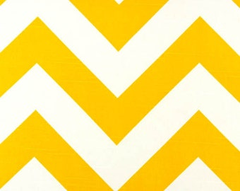 Large Yellow Chevron fabric by the yard Premier Prints Zippy corn yellow White zigzag slub cotton  - 1 yard or more  -  SHIPS FAST