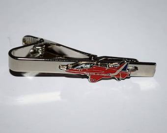Red Arrow Aeroplane Tie Clip Enamel, RAF Aviation Gift Wedding inc pouch