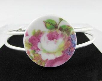 China Bracelet, Made with Grosvenor Vintage Bone China, Floral Bracelet, Broken China Jewelry, Bangle, Silver Plated