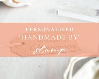 Custom Handmade By Stamp   Handmade With Love Stamp - Handmade Business Stamp - Personalised Handmade Stamp - Hand Crafted