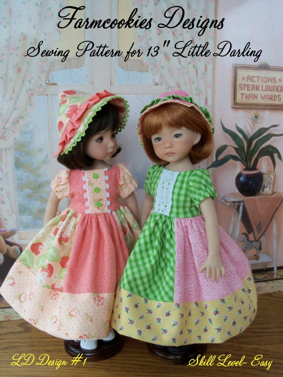 """Little Darling Printed Pattern/ Patchwork Princess/ Sewing Pattern for 13""""  Dolls"""