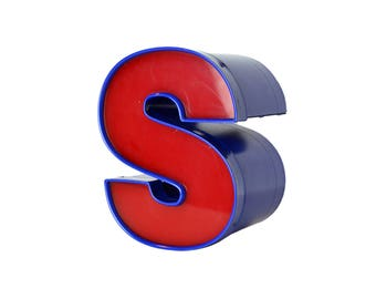 Salvaged Sign Letter S, Red and Blue Building Letter S, Channel Letter, Industrial Letter, 9 inch