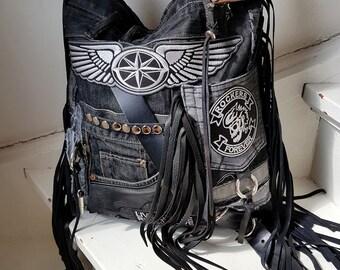 Jean hobo bag rockstyle rocker purse raw harley rugged sweetsmokebags free people vintage rocknroll biker rockstyle metalhead fringe fringed