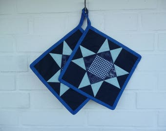 One Pair of blue Kitchen Stars, Potholders, Patchwork