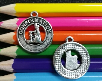 1 PC - Confirmation Catholic Religious Silver Charm Pendant C1004