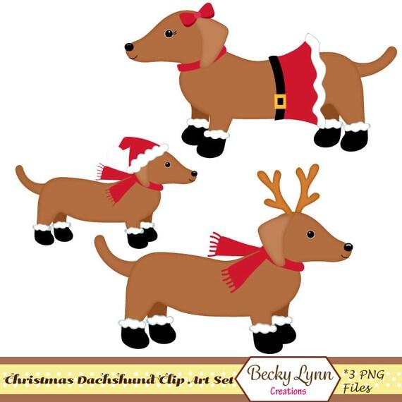 Dachshund Christmas Clip Art Christmas Dog Clip Art