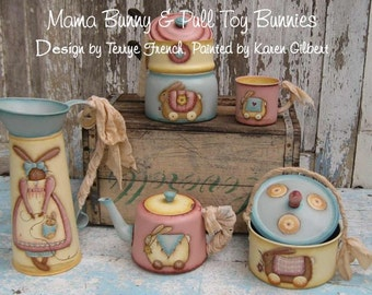 Mama Bunny Pull Toys by Karen Gilbert for Painting with Friends. E-Pattern