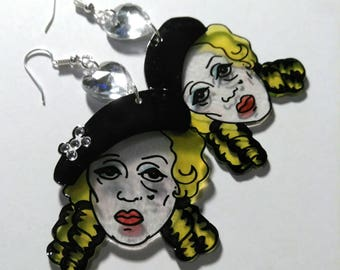Bette Davis Whatever Happened to Baby Jane diamante detailed earrings. Classic Cult movies. Gay icons. Vintage Kitsch