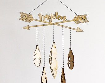 Personalized Modern Boho Arrows & Feathers Baby Mobile | Custom Name