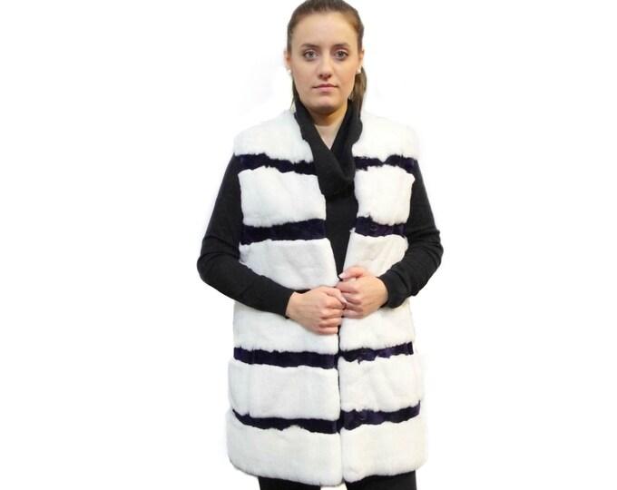 Rabbit Fur Vest,Sheared Rabbit White & Purple Vest,Long Fur Vest F182
