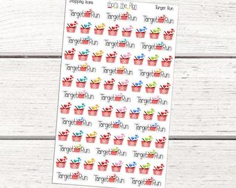 Target Run Stickers, Target Shopping Icons, Target Planner Stickers, Shopping Planner Stickers