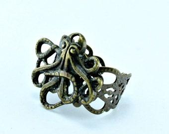 Adjustable Brass Filigree Octopus Ring Kraken Ring