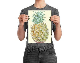 Pineapple watercolor art print/fruit wall decor/pineapple painting/ painted pineapple kitchen decor/21 X30 cm