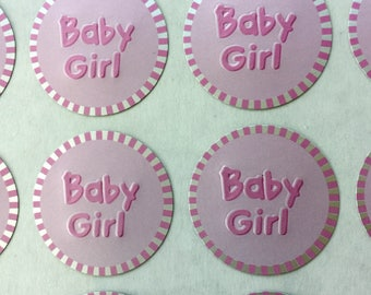 Baby Girl Sticker Seals, Girl Baby Shower Sticker, Baby Shower invitation Stickers, Announcements Seal Stickers, 1 Inch, 60 or 100 Stickers