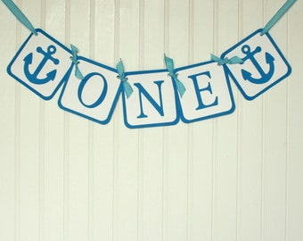 "Nautical First Birthday Party, Nautical Birthday, Nautical ""One"" banner, first birthday"
