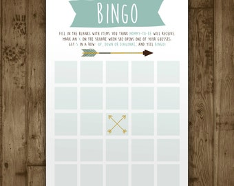 Bingo Baby Shower Game. Digital Printable Game. Adventure Arrows. Custom Baby Shower Bingo. Arrow. Boho. Boy