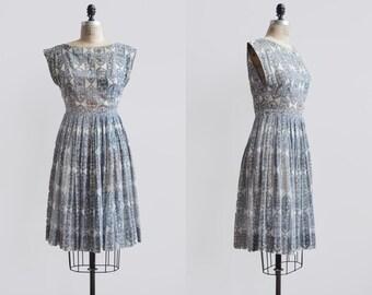 Mayan Dress / 1960s cotton day dress / vintage batik printed dress