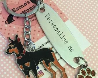Personalised Doberman keyring, Doberman gift, Hand Stamped, Key Chain, Doberman  keyring ,Dog Lover, dog gift, for her, for him
