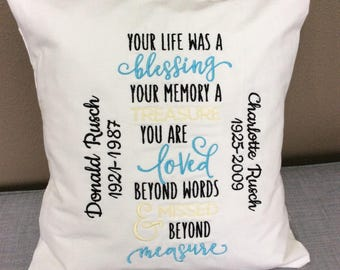 Personalized Embroidered Memory Pillow Loved Ones Keepsake Pillow