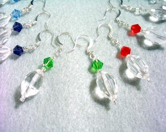 Colorful Faceted Crystal Earrings Set, Purple, Green, Blue, Red and Clear Crystal Jewelry, Dangle Earrings Set 5 Pairs, Crystal Bead Jewelry