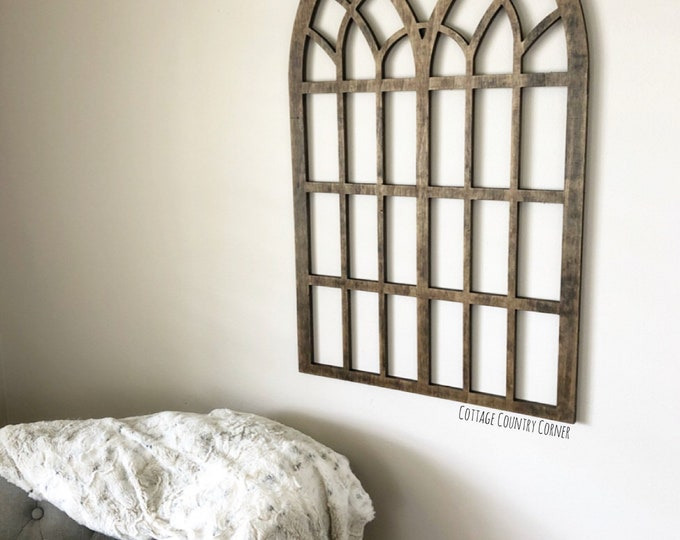 Arched Window Frame - Cathedral Arch Window Frame - Cathedral Window Frame Wall Decor - Farmhouse Decor - Window Frame - Faux Window Frame