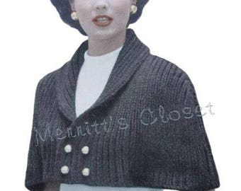 Dressy Cape Shoulderette, Quick to Knit in Bulky Yarn, Shawl Shrug Stole Wrap, Vintage Knitting Pattern, INSTANT DOWNLOAD PDF