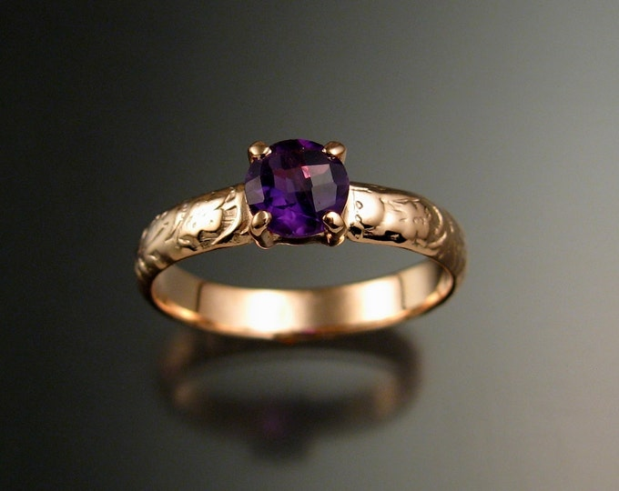Amethyst Wedding ring 14k Rose Gold Victorian floral pattern ring made to order in your size