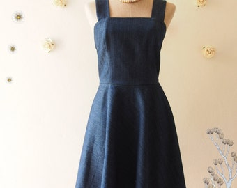 Denim Dress Holiday Casual Shoulder Strap Dress Summer Dress Denim Vintage Sundress Modest Dress Gossip Girl Dress Navy Blue Dress