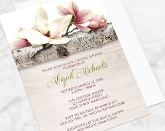 Magnolia Bridal Shower Invitations - Pink Floral with Green on Birch over Light Wood, Magnolia Shower Invites - Printed Magnolia Invitations