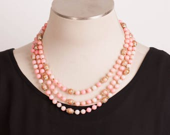 Vintage Pink Multi Strand Bead Necklace with Hook Clasp and Silver Tone Caps on Speckled Mauve Bead, Free Shipping, Necklace for Women