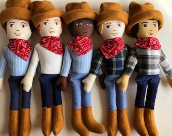 Cloth Cowboy Doll, Choose one, Ready to ship
