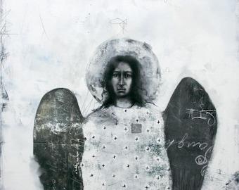 Archangel Raphael - drawing with silver leaf