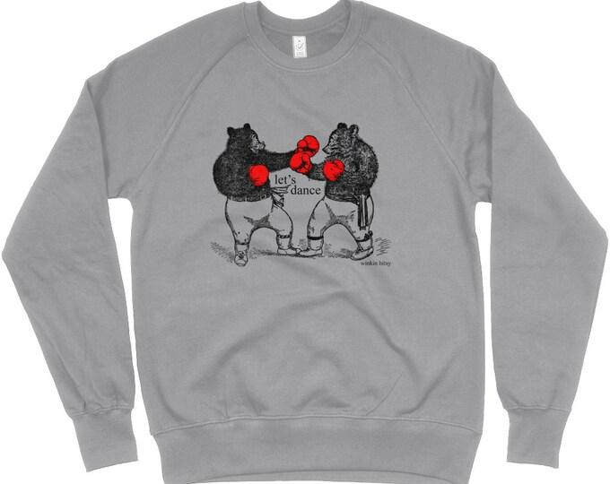 Bear Sport Boxing Bears 'Let's Dance' Print Organic Cotton Unisex Raglan Sweatshirt. Heather Grey.