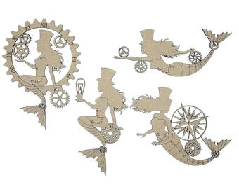 Steampunk Mermaid Set Laser Cut and Engraved Chipboard 4 pieces FREE SHIPPING! in US