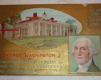 George Washington and Mt. Vernon - His Birthday Antique Postcard