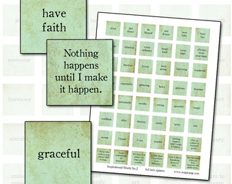 Inspirational Words II in teal or aqua color inchies digital collage sheet  25.4mm 1x1 25mm